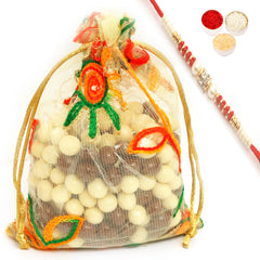 Rakhi Chocolates - Nutties in Net Pouch with Red Pearl Rakhi