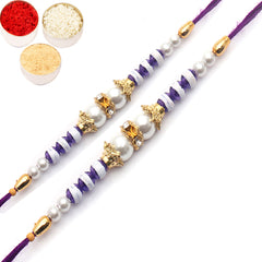 Rakhi for Brother Rakhis Online - Set of 2 - 20158 Pearl rakhi for my Brother