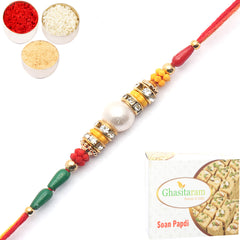 Rakhi for Brother Rakhis Online - 2104 Pearl Rakhi For my Brother with 200 gms of Soan Papdi
