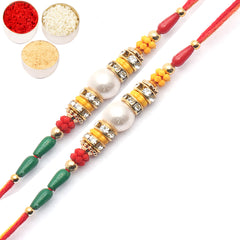 Rakhi for Brother Rakhis Online - Set of 2 - 2104 Pearl Rakhi For my Brother