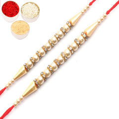 Rakhi for Brother Rakhis Online - Set of 2 - 3138 Pearl rakhi for my brother