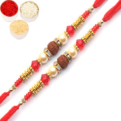 Rakhi for Brother Rakhis Online -Set of 2 - 6726 Pearl rakhi for my Brother