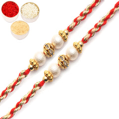 Rakhi for Brother Rakhis Online - Set of 2- 7085 Pearl rakhi for my Brother