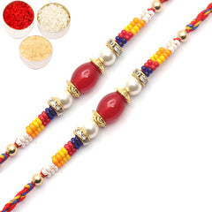 Rakhi for Brother Rakhis Online - Set of 2 - 8724 pearl Rakhi for my brother