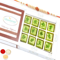 Rakhi Gifts for Brothers Rakhi Sweets- Ghasitaram's Pista Mawa Barfi  in White Box with Rudraksh Rakhi