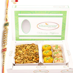 Rakhi Gifts for Brothers Healthy Hampers-  Diet Protein Mix Namkeen with Sugarfree Mawa Peda Hamper with Diamond Rakhi