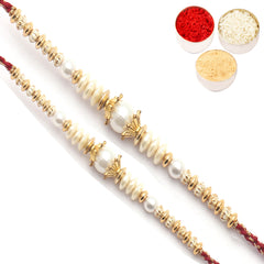 Rakhi for Brother Rakhis Online - Set of 2 - Ravishing Pearl Rakhis