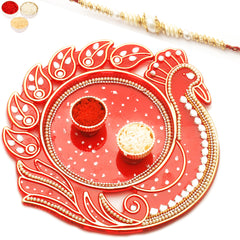 Rakhi Pooja Thalis- Red Peacock with Pearl Rakhi