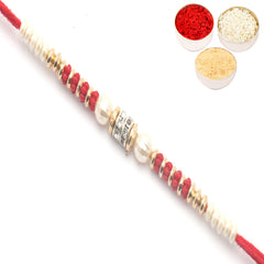 Rakhi for Brother Rakhis Online - Red Pearl Rakhi