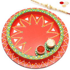 Rakhi Pooja Thalis- Reflection of Love with Red  Pearl Rakhi