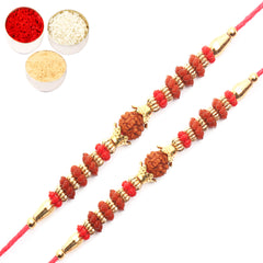 Rakhi for Brother Rakhis Online - Set of 2 - 6118 Rudraksh Rakhi