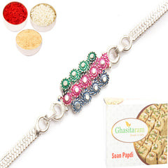Rakhi for Brother Rakhis Online - AACI silver rakhi with 200 gms of Soan Papdi