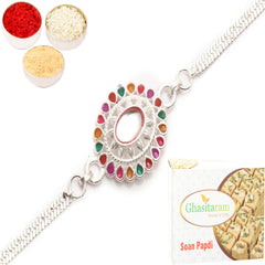 Rakhi for Brother Rakhis Online - AAK2 Silver Rakhi with 200 gms of Soan Papdi