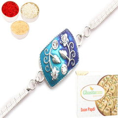 Rakhi for Brother Rakhis Online - AAMI Silver Rakhi with 200 gms of Soan Papdi
