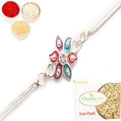 Rakhi for Brother Rakhis Online - AAMRS SILVER RAKHI with 200 gms of Soan Papdi