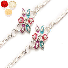 Rakhi for Brother Rakhis Online - Set of 2 - AAMRS SILVER RAKHI