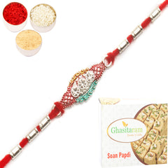 Rakhi for Brother Rakhis Online - AARR426 Silver Rakhi with 200 gms of Soan Papdi