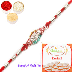 Rakhi for Brother Rakhis Online - AARR426 Silver Rakhi with 200 gms of Kaju katli