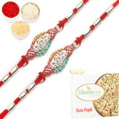 Rakhi for Brother Rakhis Online - Set of 2 - AARR426 Silver Rakhi with 200 gms of Soan Papdi