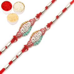 Rakhi for Brother Rakhis Online - Set of 2 - AARR426 Silver Rakhi