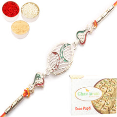 Rakhi for Brother Rakhis Online - Z2K Silver Rakhi with 400 gms of Soan Papdi