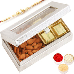 Rakhi Gifts for Brothers Rakhi Hampers- Silver 4 Pcs Chocolate and Almonds Box with Pearl Rakhi