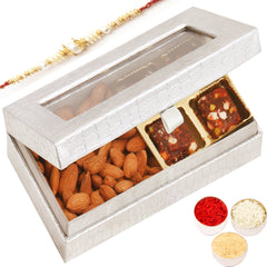 Rakhi Gifts for Brothers Rakhi Healthy Hampers- Silver 4 Pcs Sugarfree Dates and Figs Bites and Almonds Box with Pearl Rakhi