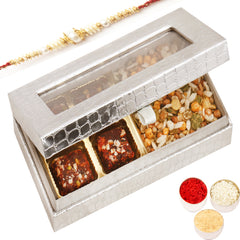 Rakhi Gifts for Brothers Rakhi Healthy Hampers- Silver 4 Pcs Sugarfree Dates and Figs Bites and Roasted Protein Mix Box with Pearl Rakhi