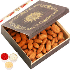 Rakhi Gifts for Brothers Rakhi Dryfruits- Small Wooden Almond  Box  with Red Pearl Rakhi