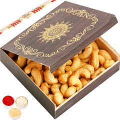 Rakhi Gifts for Brothers Rakhi Dryfruits- Small Wooden Roasted Cashew  Box  with Red Pearl Rakhi
