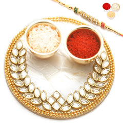 Rakhi Pooja Thalis- The Perfect Bond Pooja Thali with Diamond Rakhi