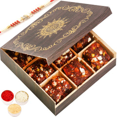 Rakhi Gifts for Brothers Rakhi Healthy Hampers- Wooden 9 pcs Sugarfree Dates and Figs Bites  Box with Red Pearl Rakhi