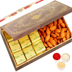 Rakhi Gifts for Brothers Rakhi Dryfruit Hampers- Wooden 9 Pcs Chocolate and Almonds Box with Red Pearl Rakhi