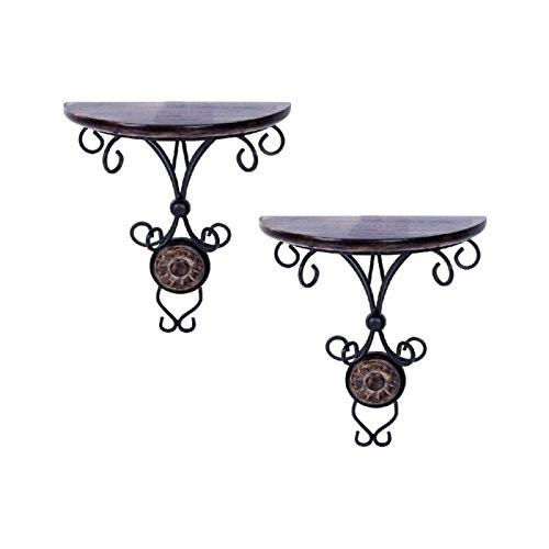 Desi Karigar Beautiful wood & wrought iron Fancy wall bracket Pack of 2
