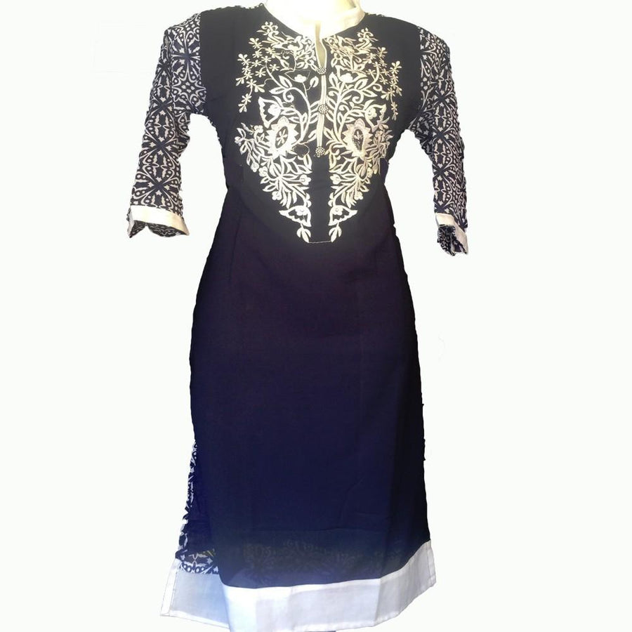 Navy Blue Embroidery Kurta
