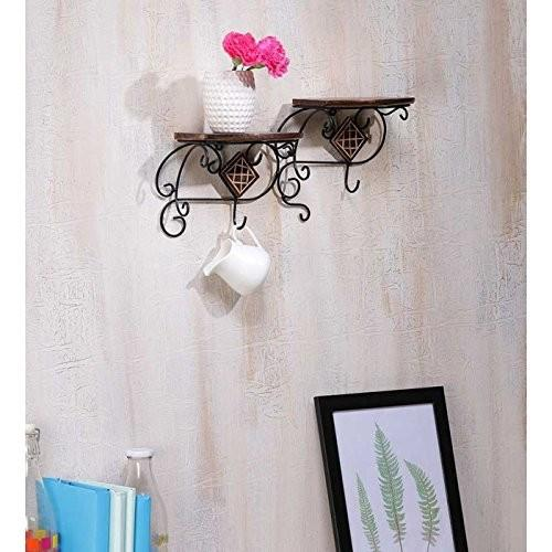 Desi Karigar wall shelve with wood and iron