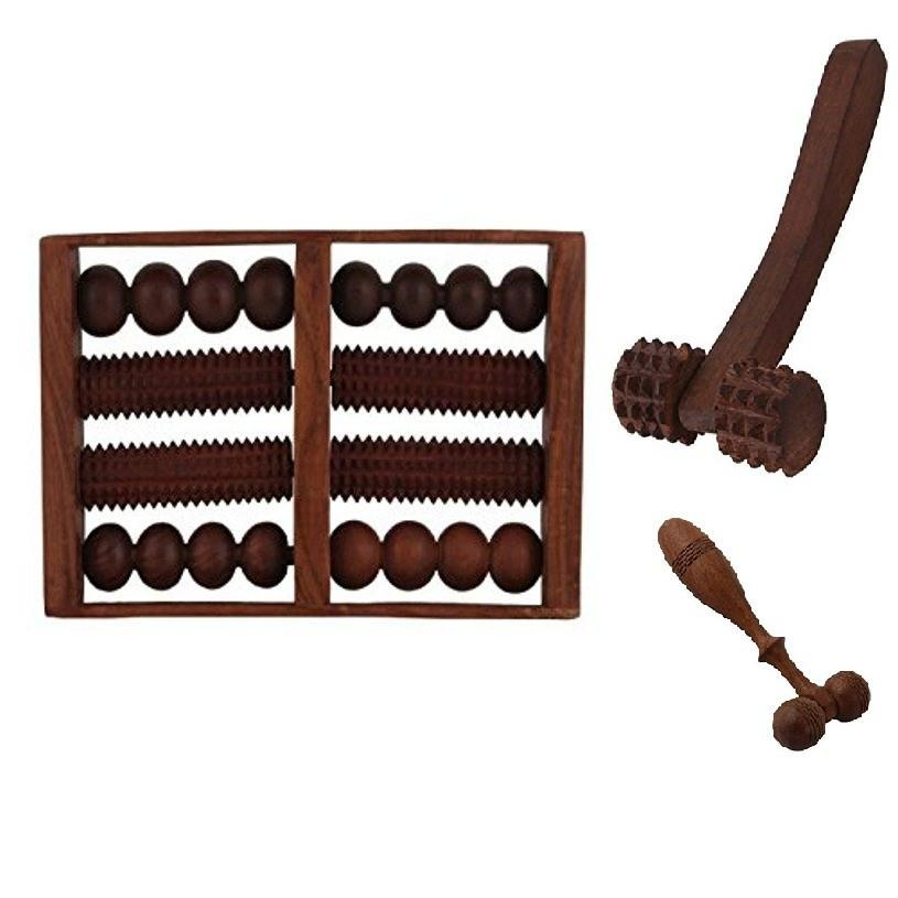 Desi Karigar Wooden Set of Wooden 8 Roller Foot/Feet Massager for Body Stress Acupressure