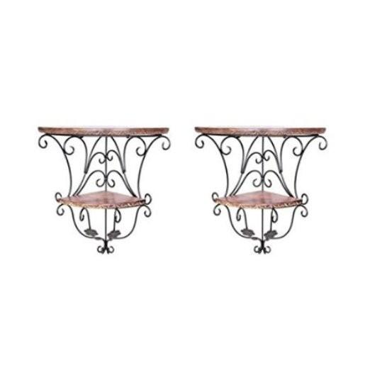Desi Karigar Home Decor Wall Hanging Fancy Double Bracket Wooden, Iron Wall Shelf Set of 2