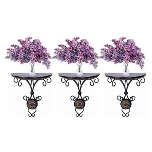 Desi Karigar Beautiful wood & wrought iron Fancy wall bracket Combo Pack of 3