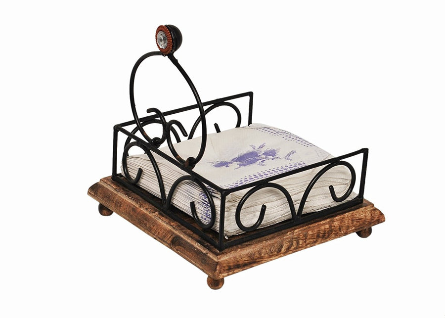 Desi Karigar Wooden & Iron Antique Tissue Holder