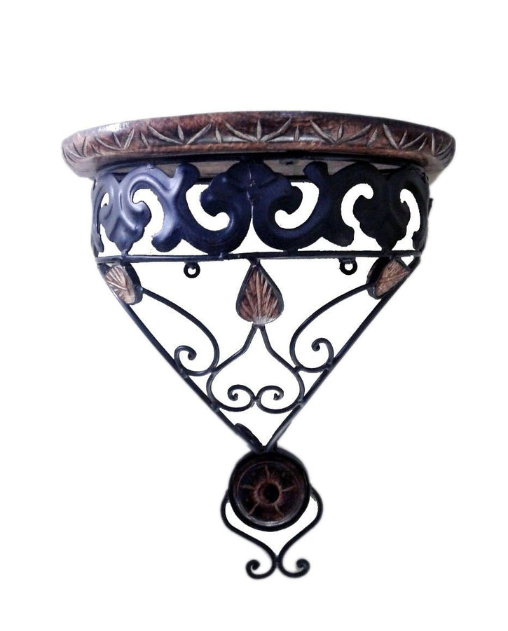Desi Karigar Wooden & Wrought Iron Wall Bracket D-Shape