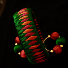 Silk Thread Earrings With Bangle