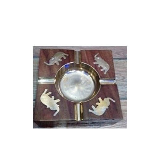 Desi Karigar Wooden Premium Quality Antique Ashtray With Brass Elephant Design