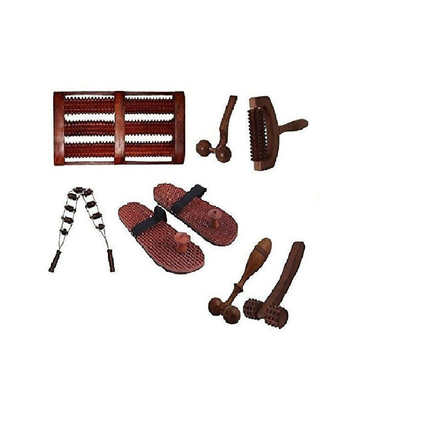 Desi Karigar Complete Kit of 7 Pc Wooden Acupressure Massager Set