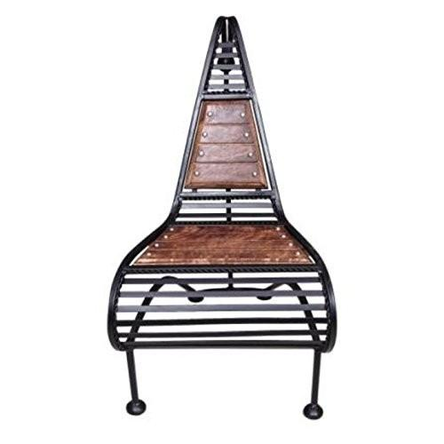 Desi Karigar Wooden And Wrought Iron Chair Classic Design