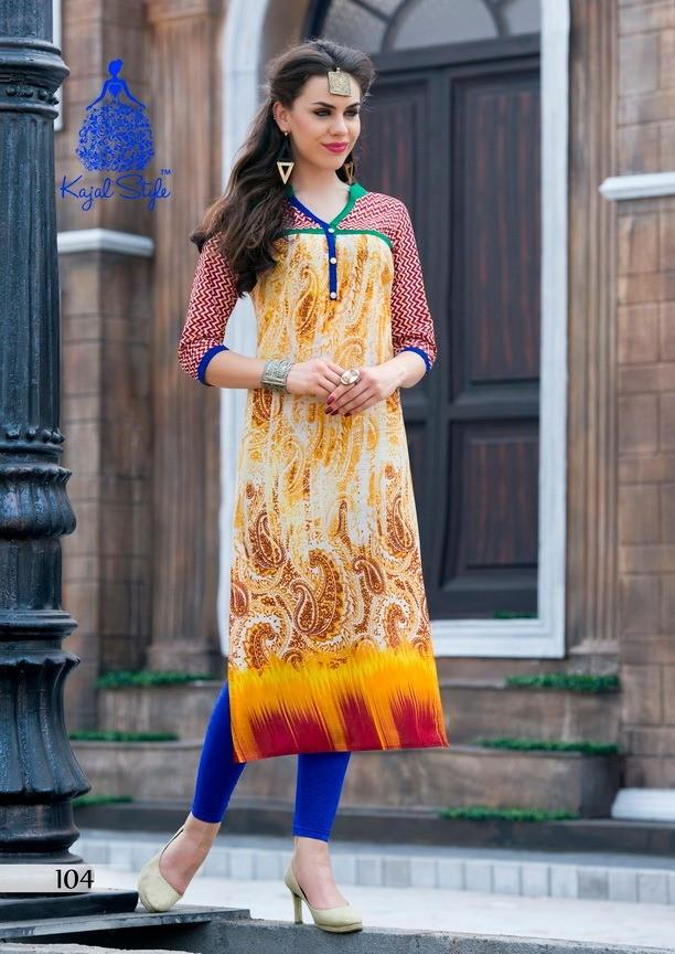Multi colour cotton printed kurta