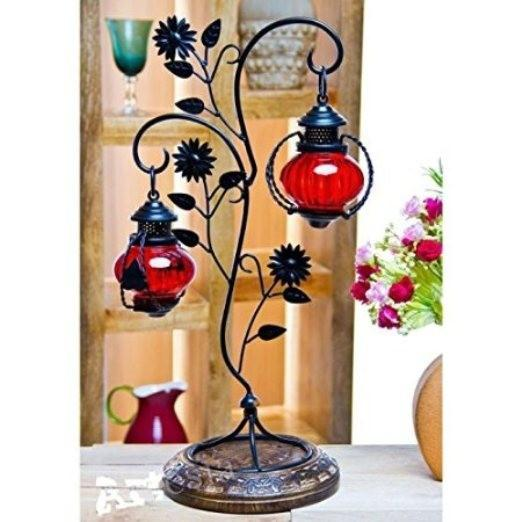 Desi Karigar Attractive Glass with Metal Red Colored Leaf Design candle Stand