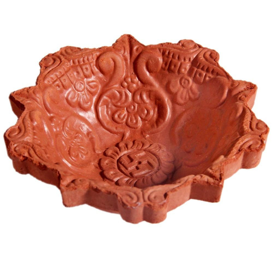 Brown Colour Decardo Clay Diwali Diya (4pc)
