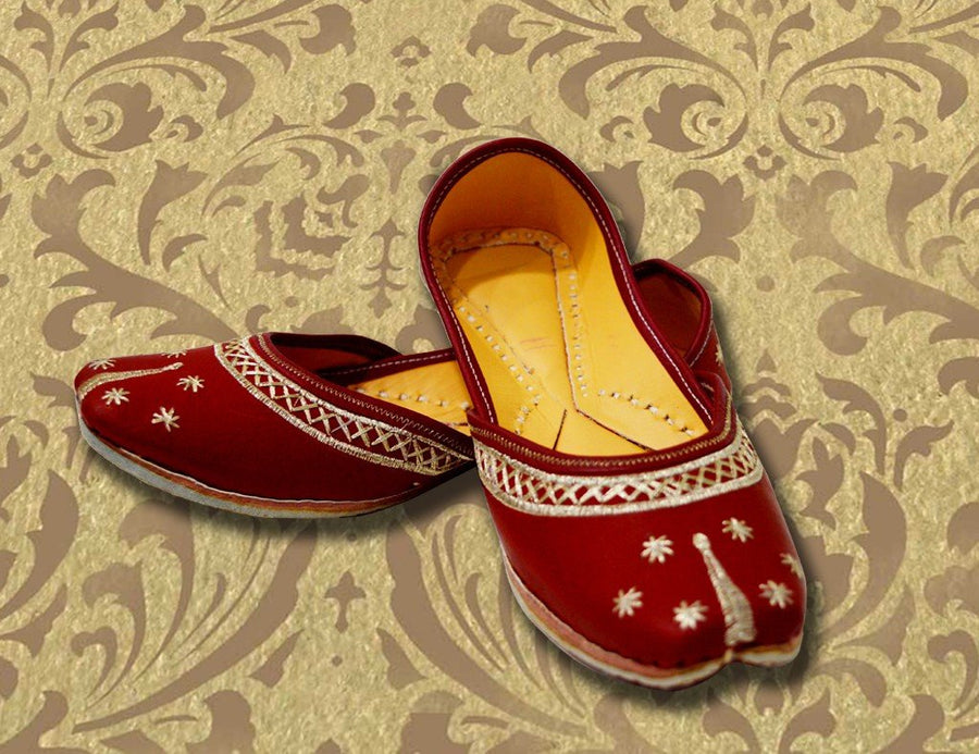 Maroon Designer Leather Shoe for Women