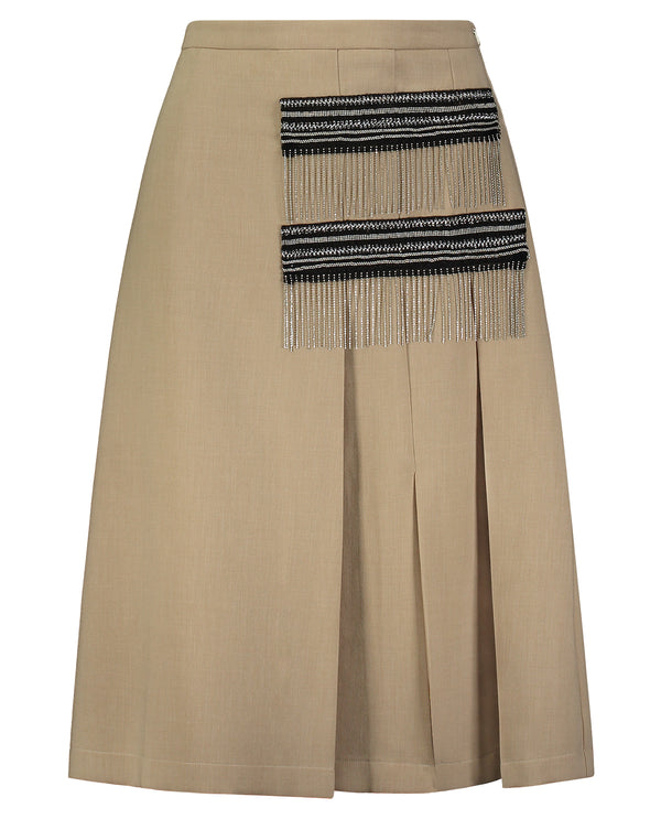 Camel Box Pleat Skirt